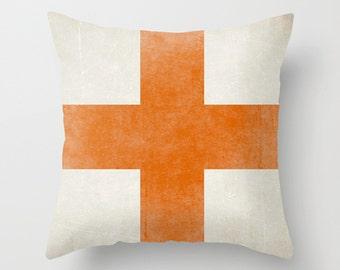 Swiss Cross Pillow Living Room Decor Pillow Cover Orange Pillow Decorative Pillow Throw Pillow  Sofa Pillow - Your Color Choice