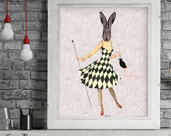 Rabbit Black White Dress  Art Print Illustration Poster Acrylic Painting Giclee Animal Painting Wall Decor Wall hanging Wall Art