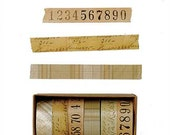 Decorative Washi Tape Set, 6 Rolls, Antique Letters, Numbers, Tan Plaid