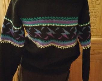 Wapiti Woolies Bohemian Chic Black Purple Pullover Atomic SKi Lodge Rockabilly Sweater