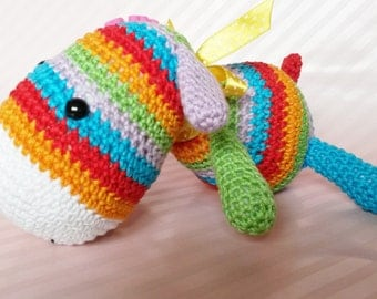 Stripy Sock Puppy (amigurumi toy based on original pattern by Lilleliis)