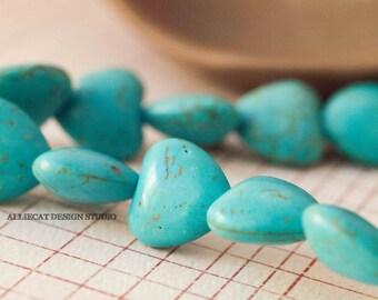 4 Semi Precious 14mm Turquoise Blue Howlite Magnesite Heart Beads (JN015)