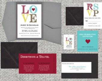 LOVE Wedding Invitation Package • 85+ colors • Pocketfold • SAMPLE