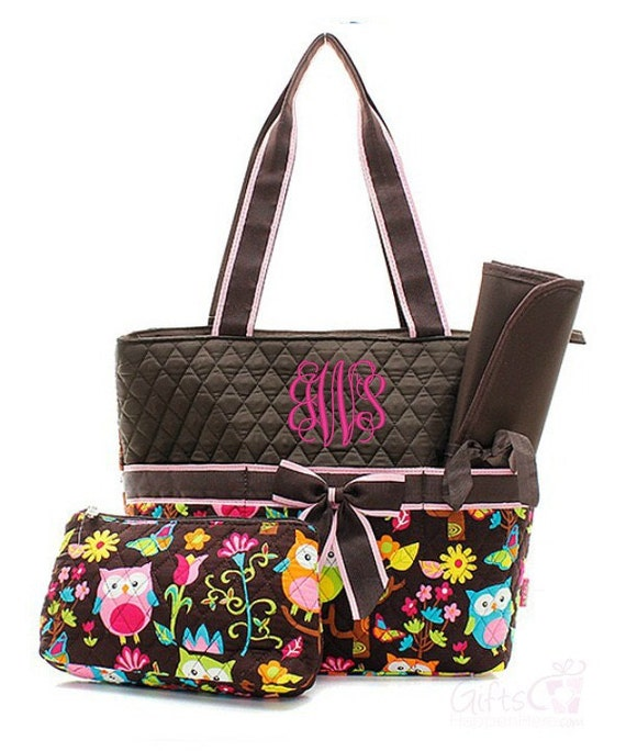 personalized diaper bag quilted monogrammed owl brown tote. Black Bedroom Furniture Sets. Home Design Ideas