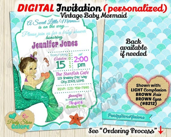 mermaid baby shower invitation little mermaid invitation under the sea