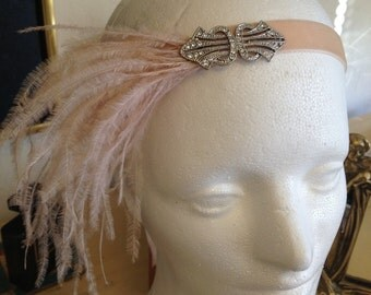 Blush 1920s Headband Great gatsby ostrich feather fascinator flapper 1920s silver Swarovski  mariage wedding headpiece serre tete fascinator
