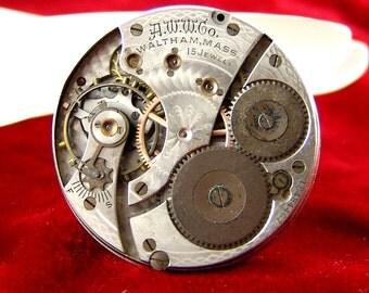Vtg 1908 Waltham 16s, 15 Jewel Pocket Watch Movement, Hunter, Good Balance, Part or Repair E3103