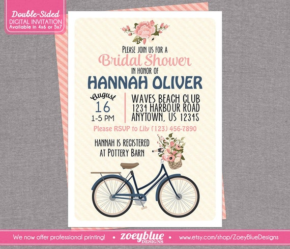Tandem bicycle unisex baby shower invitation 5 quot x 7 28 images bicycle bridal shower invitation floral by zoeybluedesigns tandem filmwisefo
