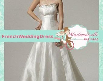 Wedding dress satin strass custom made A-line Hight Quality