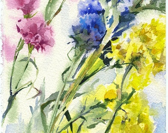 Yellow flowers watercolor - original flowers painting paper