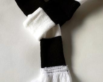 Dog scarf - football, soccer, black and white stripe