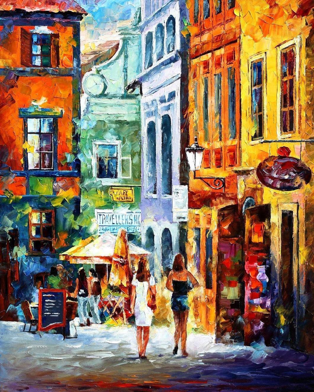 Morning Gossip Women Shopping Cityscape Oil Painting On