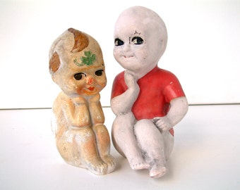 French vintage chalkware Kewpie style dolls Set of 2. Art deco period