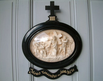Antique french chalkware carving of the Stations of the Cross. Jesus meets his Holy Mother on the way. French convent. Napolean III. Signed.
