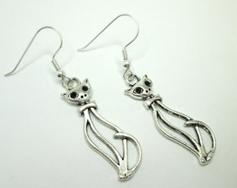 Silver cat charm earrings with 925 sterling silver or silver plated ear wires, long cat, animal jewelry, elegant long earrings, cat lady,