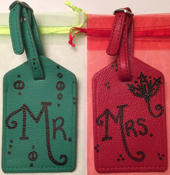 Wedding Gift - His and Her Luggage Tag travel Gift Set Art To Wear ...
