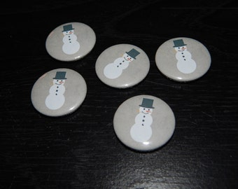cute Snowman winter pinback button badge pin