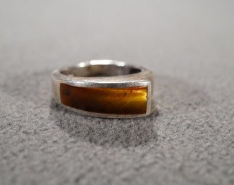 vintage sterling silver fashion ring with a wide band and inset tiger eye, size 7   M2