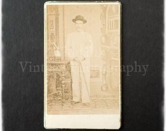 Carte de Visite CDV Photograph of a Standing Man - Thiramura Kobe Japan