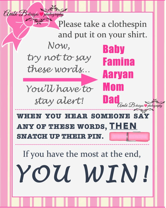 items similar to baby shower clothespin game don't say baby, Baby shower invitation
