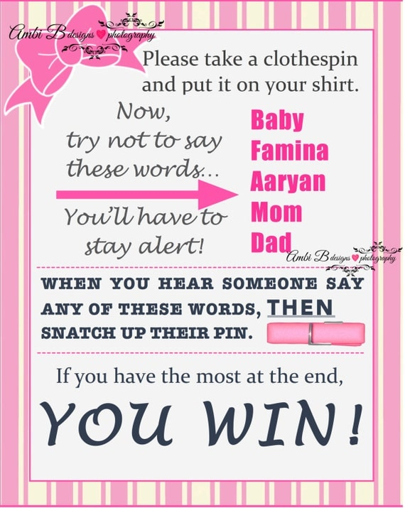 Items Similar To Baby Shower Clothespin Game: Donu0027t Say BABY Customized  Printable On Etsy