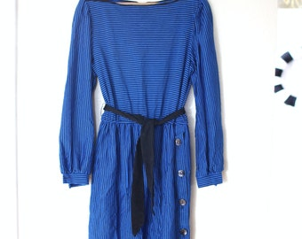 vintage 1980's royal blue and black striped secretary dress dress *