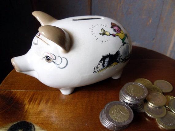 Piggy bank vintage english money box white porcelain pig - Piggy bank without stopper ...