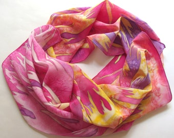 Hand painted Silk scarf 'Dance of fire'.A pink and yellow scarf, hand painted silk.Fuchsia scarf.16/68 inches. Made to order.