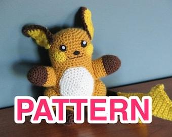Cute Raichu pokémon crochet pattern