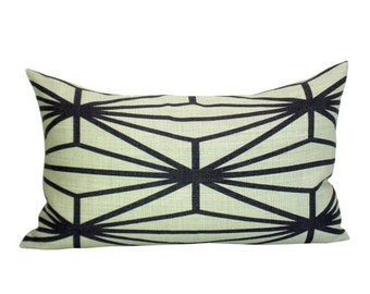 Katana lumbar pillow cover in Ebony/Ivory