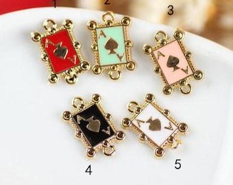 20 pcs of antique gold  little poker A multicolour drop oil charm pendants 12x8mm