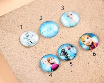 5pcs  Handmade Photo Glass Cabochon 25mm- cartoon