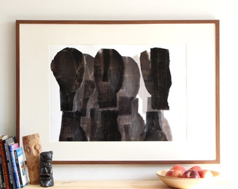 Abstract Mixed Silhouettes, Statement Black and White Art Print, Figurative Contemporary Art Poster, Archival Print