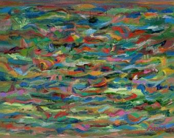 "Birds Flying Over Water, original impressionist 11 x 14"" acrylic painting on cradled birch, Pamela Parsons, seascape. bird painting, sea"