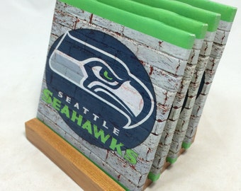 "HANDMADE ""Seattle Seahawks"" Drink Coasters 
