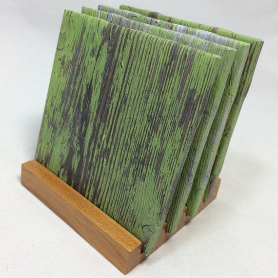 Handmade green wood drink coasters set of four for Handmade drink coasters