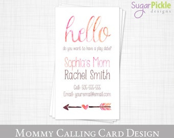 Mommy Business card // play date card // mom of card // MOMMY CALLING Card // End of the school year card // Printable JPEG
