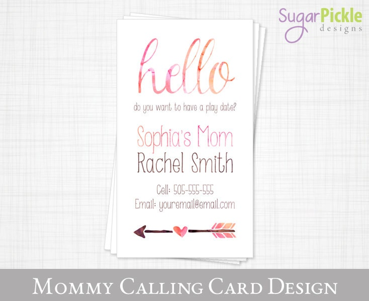 Mommy business card play date card mom of card mommy for Mommy business cards