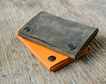 Leather personalized wallet cash card holder, coin holder, hand stitched, for men and women
