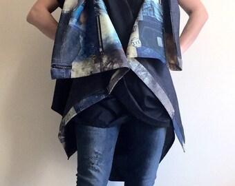 Denim Maxi Vest/High Collar Vest/Plus Size Asymmetrical Vest/Oversized Vest