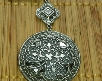in Australia - Four Leaf Clover Shamrock Locket - Irish Celtic Necklace