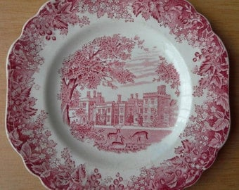 Red and White plate  J&G Meakin romantic england  Penshurst Place  Kent