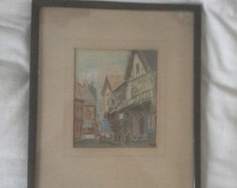 vintage charcoal street picture framed