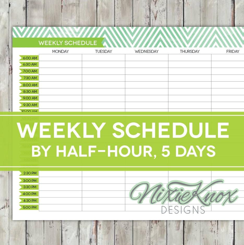 Weekly Schedule Printable Half-Hourly Weekday by PerennialPlanner