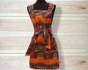 Kitchen Apron, full size apron, Ukrainian/Russian scarf floral ornaments, floral apron, rose apron, orange apron