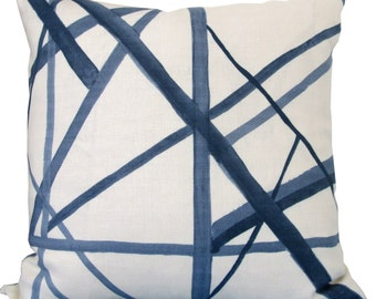SALE-Channels In Periwinkle And Ivory-Designer Decorative Pillow Cover-Kelly Wearstler-Accent Pillow-Single Sided