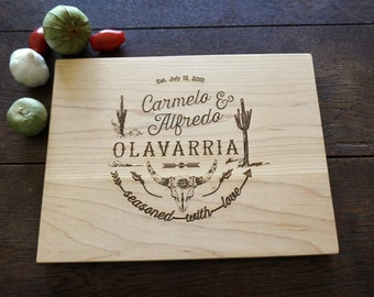 Southwestern Personalized Cutting Board Birthday or Anniversary Present for Hostess and Chefs Wedding or Bridal Gift Seasoned With Love