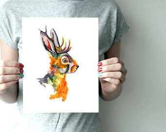 Bold and Colorful Jackelope Art Print LIMITED EDITION