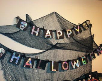Black and Silver Happy Halloween Banner
