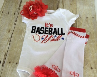 Baseball outfit. It's Baseball Y'all baseball bodysuit, leg warmers and headband.   Can customize colors